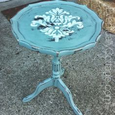 Eventually Cottage: Damask Table with Annie Sloan duck egg blue.