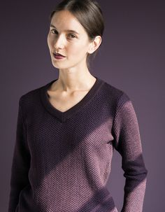 WOLFEN GERMANY / WABENPULLOVER / MERINOWOOL SWEATER  / PURPLE - BROWN WWW.WOLFENGERMANY.COM
