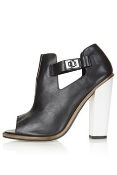 topshop peep-toe leather bootie with white leather heel