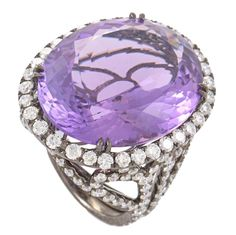 Odelia Amethyst Diamond White Gold Cocktail Ring   From a unique collection of vintage cocktail rings at https://www.1stdibs.com/jewelry/rings/cocktail-rings/