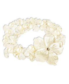 Sterling Silver Bracelet, Cultured Freshwater Pearl (6-7mm), Cultured Freshwater Mother of Pearl Shell and Crystal Three Strand Flower Bracelet