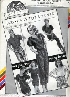 easy top pants uncut sewing pattern bust 30 32 34 36 38 40 42 44 46 Ann Person