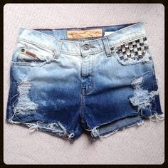 Ombre distressed denim shorts