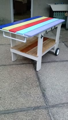 Outdoor cooking cart for our BGE Outdoor Cooking, Picnic Table, Cart, Diy, Furniture, Home Decor, Covered Wagon, Decoration Home, Bricolage