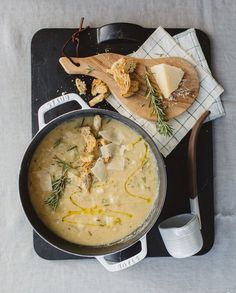#Roasted #cauliflower & white bean #soup with #rosemary