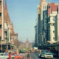 Swanston Street, Melbourne, looking south from Bourke Street intersection in 1974 Melbourne Tram, Places In Melbourne, Melbourne Girl, Melbourne Victoria, Victoria Australia, Melbourne Australia, Australia Travel, Places To Travel, Places To See