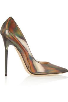 Jimmy Choo Anouk holographic leather pumps | NET-A-PORTER