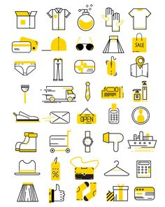 40 Modern Flat Clothing & Shopping Vector Icons » Design a Lot Web Design, Flat Design Icons, Icon Design, Logo Design, Graphic Design, Flat Icons, Vector Design, Icons Web, Vector Icons