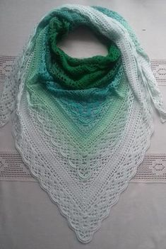 Ravelry: Klaziena Shawl pattern by Kirsten Bishop Crochet Shawls And Wraps, Crochet Poncho, Crochet Scarves, Lace Knitting, Crochet Clothes, Crochet Lace, Crochet Stitches, Free Crochet, Shawl Patterns
