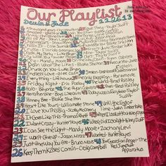 Our playlist <3 A new page for Devin's scrapbook/smash book ❤️ it's not perfect, but I think it came out nice considering I drew it on top of a moving Pit Bull head at 2 in the morning ❤️