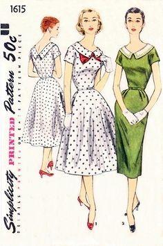 Simplicity 1615 Portrait Collar Dress / ca. 1956 -