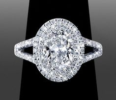 Double Halo with Oval Double Halo ~ *BLING* custom made by Vanessa Nicole… Custom Wedding Rings, Bling Wedding, Dream Wedding, Wedding Flowers, Perfect Engagement Ring, Halo Engagement Rings, Halo Diamond, Diamond Rings, Halo Rings