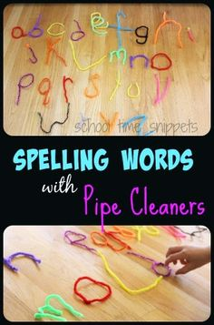 School Time Snippets: Spelling Practice with Pipe Cleaners! Works on fine motor skills. Pinned by SOS Inc. Resources. Follow all our boards at pinterest.com/sostherapy/ for therapy resources.