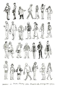 Rows of humans - Jeff the Peff Human Figure Sketches, Human Sketch, Figure Sketching, Urban Sketching, Figure Drawing, Sketches Of People, Drawing People, Art Sketches, Watercolor Paintings For Beginners