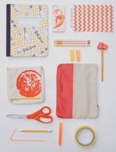 Orange School Supplies - love this composition book! This might make my beginning of year better. Yes, I am a school supply geek.