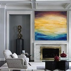 Large Ocean Canvas Oil Painting, Original Turquoise Sea And Blue Sky Landscape Painting, Sky Landscape Oil Painting, Large Wall Sea Painting Blue Abstract Painting, Yellow Painting, Oil Painting On Canvas, Large Painting, Abstract Paintings, Painting Canvas, Abstract Canvas, Seascape Art, Figure Painting