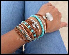 Boho LEATHER Wrap Bracelet Pick SIZE Toho Leather Gypsy