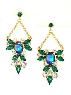 DaisyGem | Emerald Green Purple Blue Rhinestone Crystal Jeweled Flower Gold Earrings