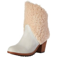 Australia Luxe Collective Women's Eden Ankle Boot ($107) ❤ liked on Polyvore featuring shoes, boots, ankle booties, shearling-lined boots, short boots, stacked heel boots, australia luxe collective and slip on boots