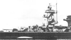 A port side view of Admiral Graf Spee which clearly show the camouflage pattern.