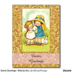 Easter greetings vintage dog greeting cards pinterest easter easter greetings kids by grace wiederseim postcard m4hsunfo
