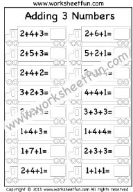 Add three numbers – 3 Worksheets