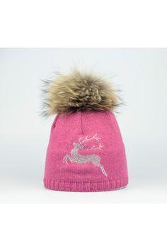Steffner Mütze mit Echtpelz & Strass pink Trachteria