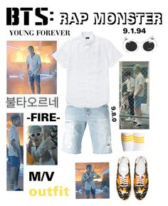 """BTS: RAP MONSTER ""Fire"" M/V Outfit"" by itzbrizo ❤ liked on Polyvore featuring Yves Saint Laurent, Dondup and J.Crew"