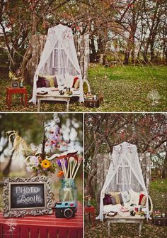 A cute comfy photo booth easy to put together with some rented vintage furniture #eventdesign