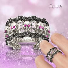 Round Cut Sterling Silver Skull Ring/Women's Cocktail Ring #jeulia