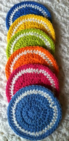 """Colors of the Rainbow"" Coaster Set ~ free pattern"