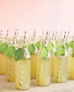 Lemonade bottles with name tags & striped straws