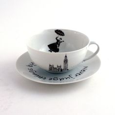 Redesigned  Mary Poppins Cup and Saucer Nanny by MoreThanPorcelain, €23.00