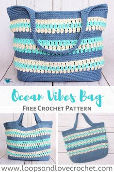 Ocean Vibes Bag - Free Crochet Pattern Loops & Love Crochet Always aspired to discover ways to knit, although uncertain where do you start? This particular Complete Beginner Knitti. Crochet Beach Bags, Free Crochet Bag, Crochet Market Bag, Crochet Tote, Crochet Handbags, Crochet Purses, Love Crochet, Bag Pattern Free, Tote Pattern