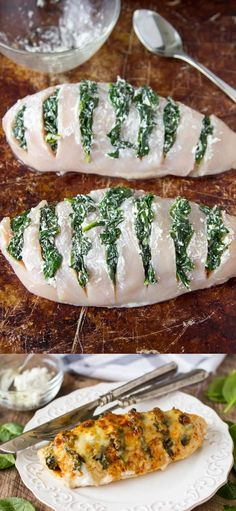 4 Chicken breasts. 3 cups Spinach, fresh. 2 tsp Paprika. 1/2 tsp Red pepper flakes. 1 Salt and pepper. 1/2 cup Goat cheese. 1/3 cup Mozzarella cheese.