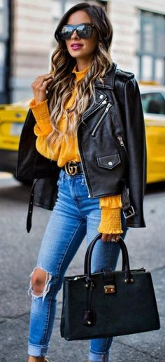 #fall #outfit #ideas   Leather + Mustard + Denim