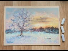 Winter landscape with tree painted with soft pastels