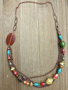 Orange Agate stone, African trade beads, copper chain with copper necklace