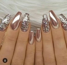 24 Stunning Glitter Nail Art Designs That You Will Love to Try; nail designs designs for short nails step by step best nail stickers nail art sticker stencils full nail stickers Fabulous Nails, Gorgeous Nails, Pretty Nails, Amazing Nails, Perfect Nails, Gold Nail Art, Glitter Nail Art, Gold Chrome Nails, Chrome Nails Designs