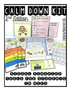 Calm Down Kit- Visual Behavioral Management Tools for the Primary Grades Behavior Rewards, Behaviour Management, Classroom Management, Behavior Tracker, Class Management, Autism Classroom, Special Education Classroom, Disney Classroom, Classroom Resources