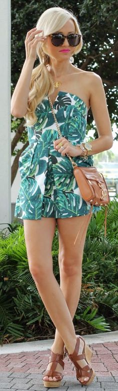 Topshop Green And White Women's Tropical Print Off The Shoulder Romper by A spoonful of Style