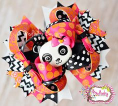 Cute Panda M2MG Bow, OTT Bow, over the top hair bow, stacked bow, Chevron hairbow, Bright Sparkly Bow, Polka dot bow, Layered Bow