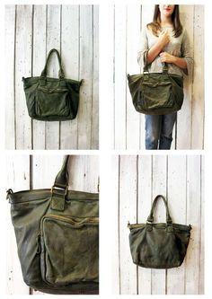 TASC bag 11-Handmade Italian green Leather Messenger Bag di LaSellerieLimited su Etsy