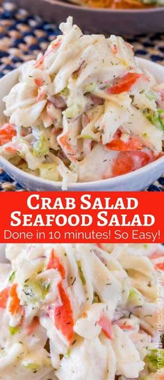 Crab Salad with celery and mayonnaise is a delicious and inexpensive delicious way to enjoy the classic Seafood Salad we all grew up with. Crab Salad (Seafood Salad) - Dinner, then Dessert Judy Bauman jbuaman Salads Crab Salad with celery and mayon Crab Dishes, Seafood Dishes, Seafood Boil, Seafood Appetizers, Appetizers With Meat, Sea Food Salad Recipes, Healthy Recipes, Crab Salad Recipe Healthy, Healthy Food