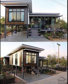 Modern Bungalow House Design, Simple House Design, Modern Tiny House, Dream Home Design, Building A Container Home, Container House Design, Container Homes, Off Grid House, Casa Patio
