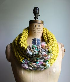 This lovely mustard chunky knit cowl is a beautiful combination of color and texture. You will feel very Bohemian while wearing this beautiful piece