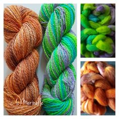 Customdyed (by @altairdesignn) tops spun to 2-ply, about 130m in each skein. 2 Ply, Tops