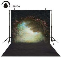 Allenjoy Photography background Retro flower door woods Bokeh boy girl send rolled computer printed backdrops