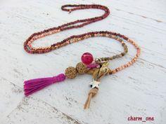 Kette ★ Quaste ★ Jaspis Stern pink - kupfer von charm_one Perlenunikate      auf DaWanda.com