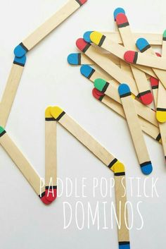Paddle stick dominoes for colour matching - a busy bag idea